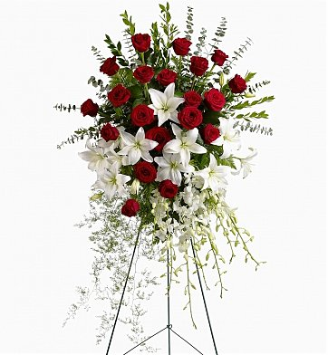 Funeral Flowers: Lily & Rose Tribute Spray