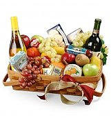 Wine & Fruit Baskets: Birthday Gourmet Fruit and Wine